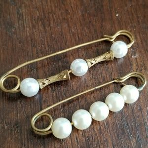 Two vintage kilt pins gold tone white faux pearls